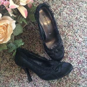 Black ribbon heels